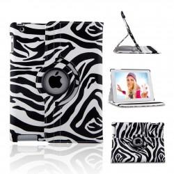 Ställbart iPad fodral 360 grader rotation - (Zebramönstrad svart-vit)