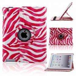 Ställbart iPad fodral 360 grader rotation - (Zebramönstrad rosa-vit)