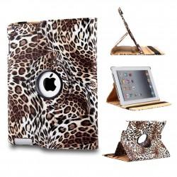 Ställbart iPad fodral 360 grader rotation - (Leopardmönstrad brun)