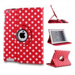 Ställbart iPad fodral 360 grader rotation - (Prickig röd)