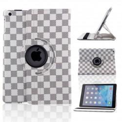 Ställbart iPad fodral 360 grader rotation - (Rutig vit-grå)