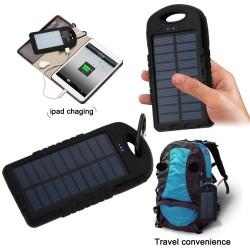Solar powerbank extrabatteri med ficklampa 5000 mAh