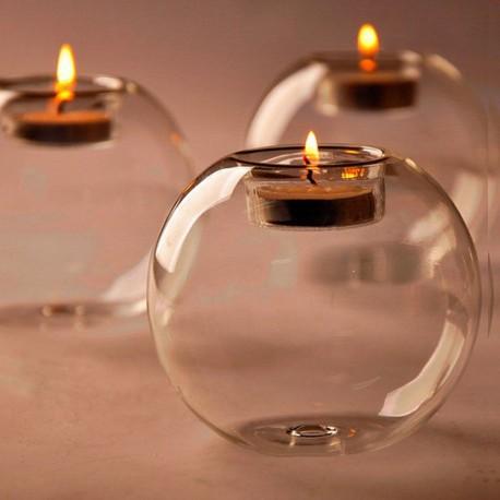 Vacker ljusbehållare i handgjort glas