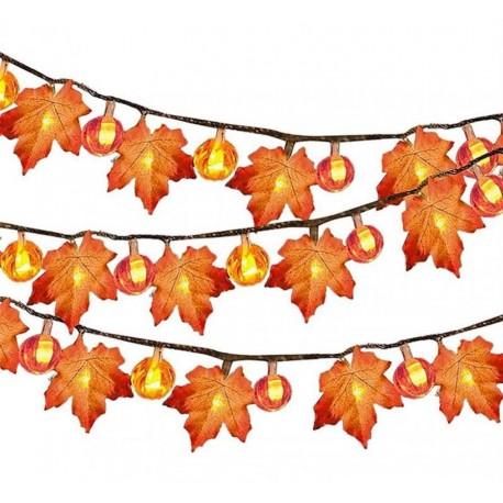 LED Löv/pumpa 3 meter slinga dekoration belysning